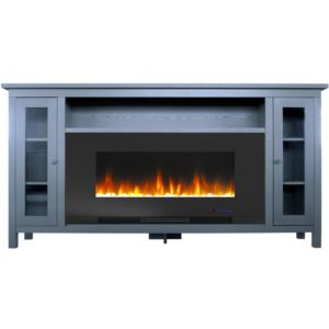Somerset 70-In. Slate Blue Electric Fireplace TV Stand with Multi-Color LED Flames, Crystal Rock Dis