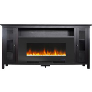 Somerset 70-In. Black Electric Fireplace TV Stand with Multi-Color LED Flames, Crystal Rock Display,