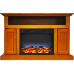Sorrento Electric Fireplace with Multi-Color LED Insert and 47 In. Entertainment Stand in Teak