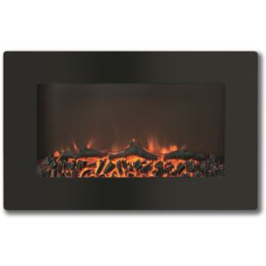 30-In. Callisto Wall Mount Electric Fireplace with Log Display , Timer, and Remote, Black