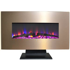 36 In. Metallic Electric Fireplace in Bronze with Multi-Color Log Display