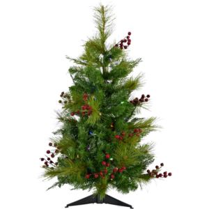 2.4-Ft. Newberry Pine Artificial Tree with Battery-Operated Multi-Colored LED String Lights