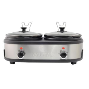 2.5 QT Double Slow Cooker -  Stainless Steel