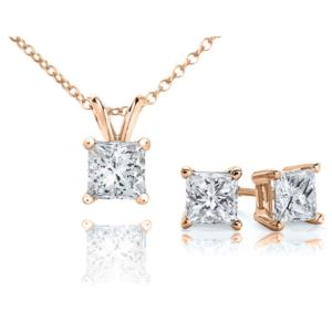Certified PARIKHS Princess Cut Prime Diamond Set 14K Rose Gold 0.60ct IJK Color, I1 Clarity