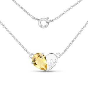 PARIKHS 1.35 Carat Citrine Pears Pendant with chain in 18K White Gold over Sterling Silver