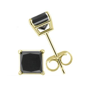 PARIKHS Black Princess cut Diamond Stud 14K Yellow Gold 0.06ct