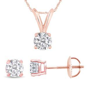 Certified PARIKHS Round Privilege Diamond Screw back Set 14K Rose Gold 0.35ct HIJ Color, VS2 Clarity