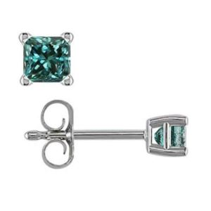 PARIKHS Blue Princess cut AA Quality Diamond Stud in White Gold over Sterling Silver, 0.05ct