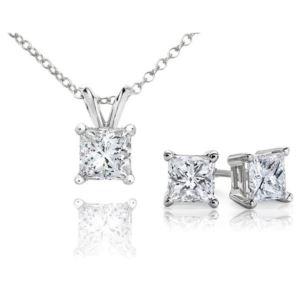 Certified PARIKHS Princess Cut Prime Diamond Set 14K White Gold 0.60ct IJK Color, I1 Clarity