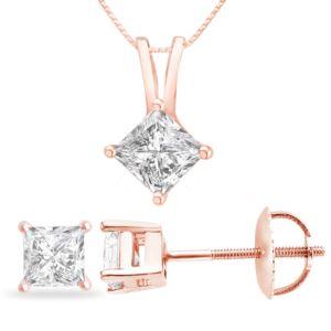 Certified PARIKHS Princess Cut Diamond Screw back Set 14K Rose Gold 0.35ct HIJ Color, VS2 Clarity