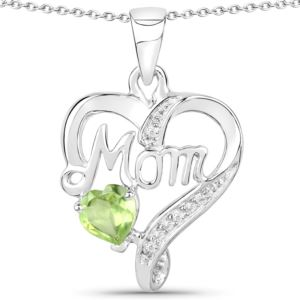 PARIKHS 0.48 Carat Peridot and White Topaz Pendant with chain in 18K White Gold over Sterling Silver