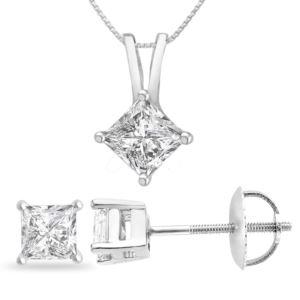 Certified PARIKHS Princess Cut Diamond Screw Back Set 18K White Gold 0.35ct HIJ Color, VS2 Clarity