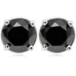 PARIKHS Black Round Diamond Stud in 14k White Gold 0.06ct