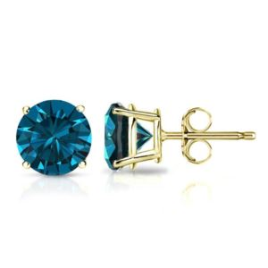PARIKHS Blue Round AA Quality Diamond Stud in Yellow Gold over Sterling Silver, 0.05ct
