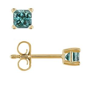 PARIKHS Blue Princess cut AA Quality Diamond Stud in Yellow Gold over Sterling Silver, 0.05ct