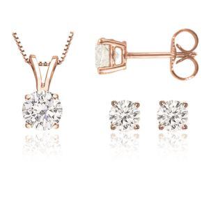 Certified PARIKHS Round Prime Diamond Set 14K Rose Gold 0.60ct IJK Color, I1 Clarity