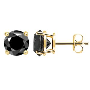PARIKHS Black Round Diamond Stud in Yellow Gold over Sterling Silver, 0.06ct