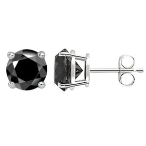 PARIKHS Black Round Diamond Stud in White Gold over Sterling Silver, 0.06ct