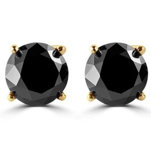 PARIKHS Black Round Diamond Stud in 14k Yellow Gold 0.06ct