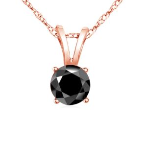 PARIKHS Black Round Soliatire Diamond Pendant 14k Rose Gold 0.05ct