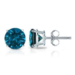 PARIKHS Blue Round AA Quality Diamond Stud in White Gold over Sterling Silver, 0.05ct