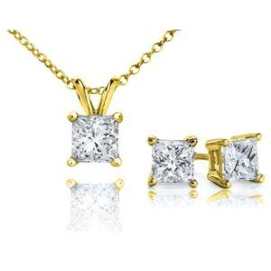 Certified PARIKHS Princess Cut Popular Diamond Set 14K Yellow Gold 0.75ct IJK Color, I2 Clarity
