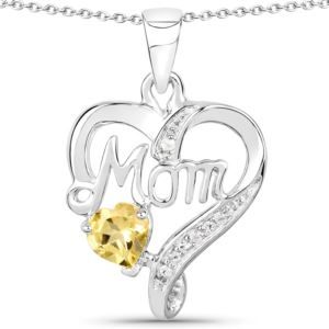 PARIKHS 0.49 Carat Citrine and White Topaz Pendant with chain in 18K White Gold over Sterling Silver