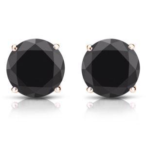 PARIKHS Black Round Diamond Stud in 14k Rose Gold 0.06ct