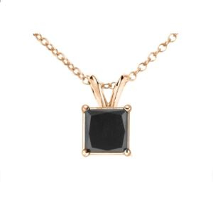 PARIKHS Black Princess cut Soliatire Diamond Pendant 14k Rose Gold 0.05ct