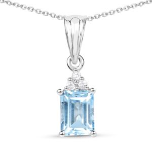 PARIKHS 1.71ct Blue Topaz and White Zircon Pendant with chain in 18K White Gold over Sterling Silver