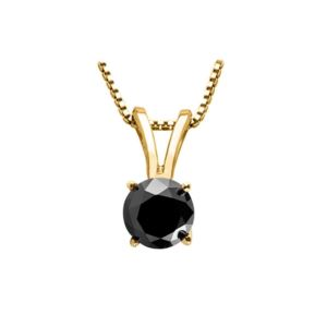 PARIKHS Black Round Soliatire Diamond Pendant 14k Yellow Gold 0.05ct