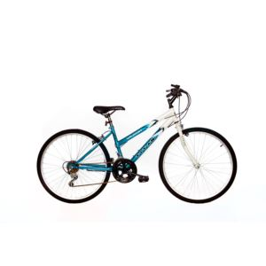 "26"" Ladies Wildcat"","" White/Teal Blue Mounatin Bike"