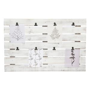 Wooden Plank Board With 8 Clips - (White Wash)