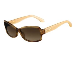 Womens Rectangle Translucent Sunglasses (Havana Brown)