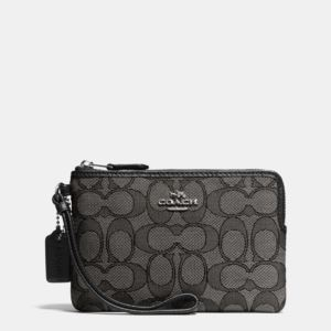 Signature Corner Zip Wristlet - Smoke/Black
