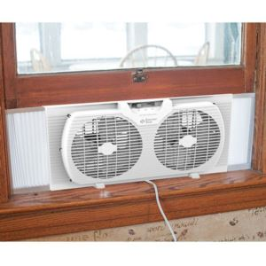 Portable Twin Window Fan White 9 - Inch