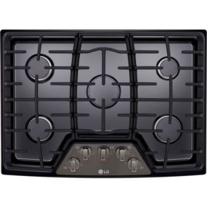 30-in. Gas Cooktop with 17K BTU Center Burner in Black Stainless Steel