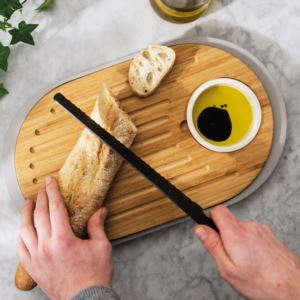 Leo 2-sided Tapas Cutting Board W/Tray, Gray