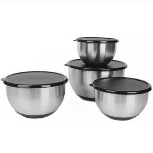 Geminis 18/10 SS 8pc Mixing Bowl Set/ Black Lids, Essentials