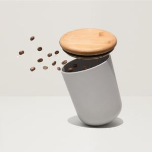 """Leo 5.3"""" Bamboo Covered Canister"""", Gray"""