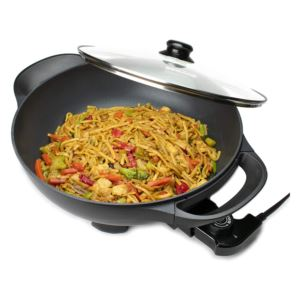 13 - Inch Non-Stick Flat Bottom Electric Skillet with Vented Glass Lid - (Black)