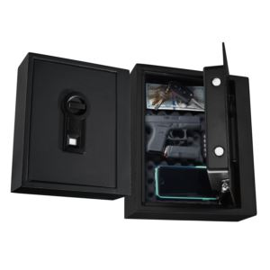 Drawer Safe with Biometric Lock and Gas Lift in Black