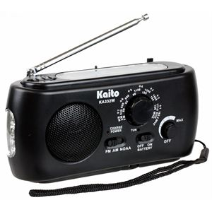Solar/Crank Dynamo Radio with Flashlight Black