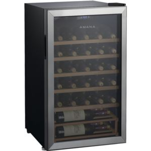 35-Bottle Single-Zone Wine Cooler with LED Thermostat Control and Wood Shelving