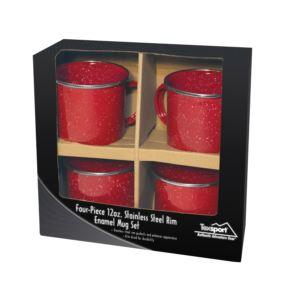 4pc Stainless Steel Enamel Coffee Mug Set Red