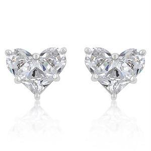 White Gold Rhodium Bonded Heart Shape CZ Stud Earrings