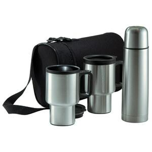 4-Piece Stainless Steel Travel Mug Set with Carrying                            Case
