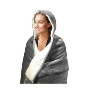 Hooded Weighted Velvet Throw - (10 Pounds) - (Grey)
