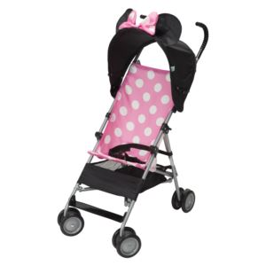 Pink Minnie DLX Umbrella Stroller w/ 3D Canopy & Basket