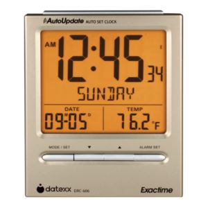 Radio Control Desk Alarm Clock with Day, Date, Calendar, Temperature, Dual Alarm, Auto shut-off